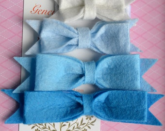 Set of 4 Felt Bow Hairclips in Blue