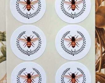 Stickers Bee Wreath Vintage Style Envelope Seals Party Favor Treat Bag Sticker SP004