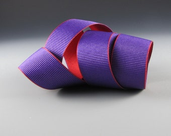 "Purple and Red Double Faced Grosgrain Ribbon   1 1/4"" Wide 2 Yard Length"