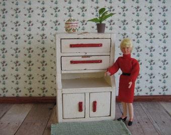 Wooden Dollhouse Kitchen Cupboard  - One Inch Scale