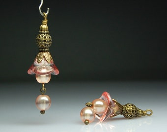 Vintage Style Bead Dangles Pink Glass Flowers Pair PK417