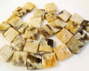 Feldspar Jasper Square Beads, Graphic Feldspar, 12x12mm (28 beads), LOT 55-C