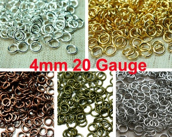 4mm Gauge 20 Strong Open Jump Ring, Silver, Gold, Antique Brass, Antique Copper, Antique Silver - 10 Gram Approx. 210-220pcs - Pick Finish