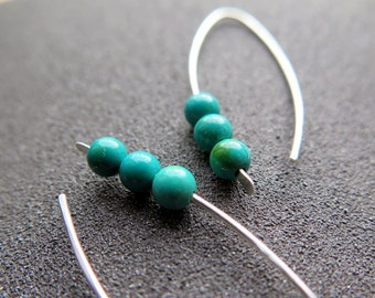 modern turquoise earrings in eco friendly sterling silver. turquoise jewelry. December birthstone.