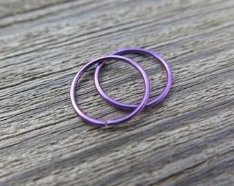 purple earrings. niobium hoops. small earings.