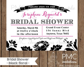 Custom Printed Floral Bridal Shower Invitations - 1.00 each with envelope