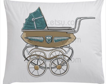 Baby stroller vintage -SooArt Original Illustrate Drawing  A4 Print on Pillows, t-shirts, scrapbook, lampshades  ETC.