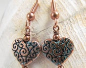 Green Patina Copper Heart Earrings, Handmade by Harleypaws, SRAJD