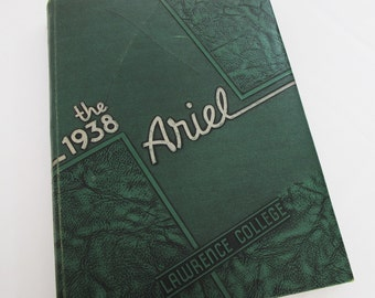 1938 Lawrence College Yearbook Year Book Appleton Ariel Green Textured Embossed Cover Art Decor Design Fonts 1930s Photos FREE SHIPPING