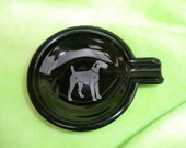 Airedale Silver Imprint Black Amethyst Glass Ashtray  Tobacciana