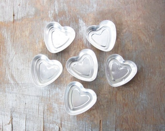 vintage heart tins, metal tin heart molds, heart shaped molds