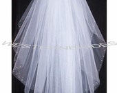 RHINESTONE on the EDGE Brand New  2 tier Classic style veil . waist  lenght with silver comb ready to wear