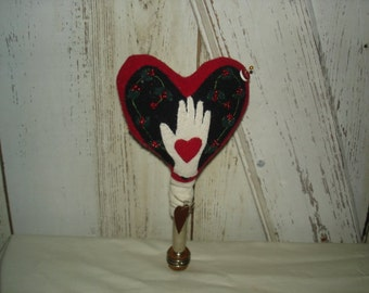 Heart N Hand Wool Pin Cushion, Pincushion, Pinkeep, Pinpoke, Heart, Valentine's Day, Sewing Needful, Ofg, Faap, Hafair, Dub