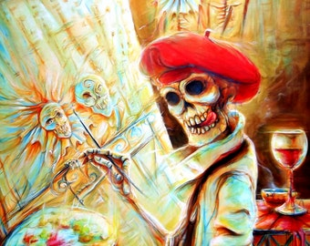 Day of the Dead, 'The Artist'  signed print by artist Heather Calderon