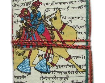Royal Couple Camel Ride Indian Art Journal, White Art Diary, Recycled Handmade Paper, 45 pages, 6 x 4 inches, Indian Folk Art, Blank Book