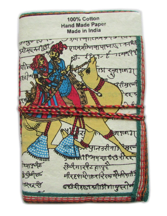 Royal Couple Camel Ride Indian Art Journal, White Art Diary, Recycled