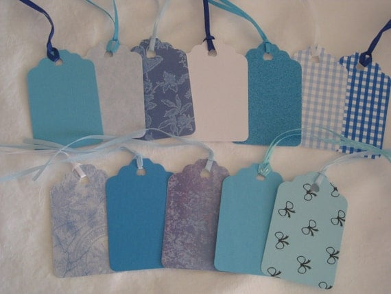 Baby Shower Gift Card Value ~ Gift tags in all shades of blue baby shower favor