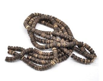 Brown coconut beads - eco friendly rondelle beads 8mm - 100pcs  (PC214D)