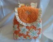 Child's Backpack in Little Birds Tangerine. Available in small size only.