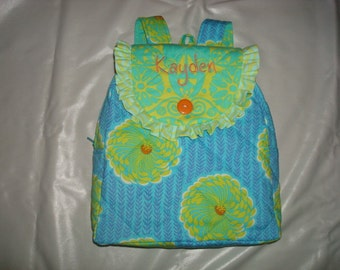 Child's Backpack in Amy Butler Soul Blossom print with Amy Butler accent fabrics