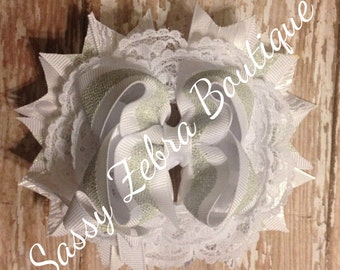 All white Stacked Hair Bows