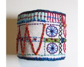 Colorful  Hand Embroidered Recycled Geometric Cuff