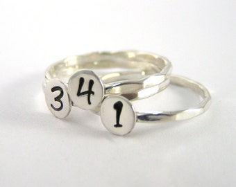 Number Ring, Stack Ring, Personalized Number Ring, Sterling Silver Custom Ring, Sports Number Ring