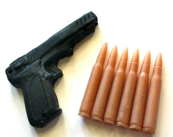 Gun and Bullets Soap Set - Gift for Dad - You Choose Color and Scent - Gift for Man - Dad - Party Favors, Guy Soap, Gift for Man