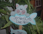 Personalized Spoiled Cats Live Here Garden Stake