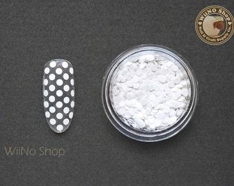 2mm White Round Dots Glitter / Nail Art Craft