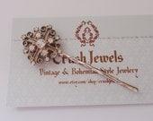 Barrette Vintage Rhinestone Cross bride bridal girly bobbypin shabby chic style vintage style