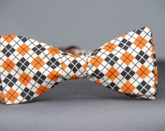 Orange, Black and White mini Argyle  Bow Tie