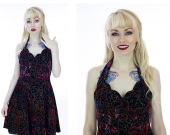 90s Floral Velvet Dress Grunge Formal Party Vintage Halter Scalloped Bodice 80s Circle Skirt With Tulle Petticoat Small S Medium M Size 7