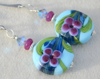 WILDFLOWERS-Handmade Lampwork and Sterling Silver Earrings