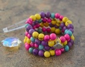 Candy Mix: Acai Beads Bracelet Colorful Acai Beads Memory Wire Bracelet / Eco friendly Jewelry, Organic Beads, Acai Seeds / Handmade