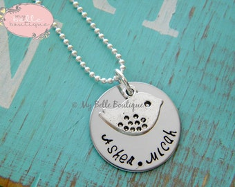 Personalized Hand Stamped Mommy or Grandma Necklace with Bronze or Silver Tone Mama Bird Charm