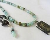Buddha Necklace, Peruvian Blue Opal Necklace, Yoga Jewelry, Leather Necklace