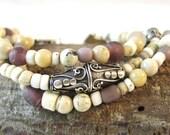 African Trade Bead Bracelet, Tribal Bracelet, Multi Strand Bracelet, Recycled Glass Beads