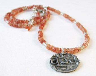 Sunstone Necklace, Coin Pendant, Orange Necklace, Coin Jewelry