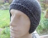 COCOON LUXURY soft thick grey merino wool hat ear flap toque chullo M  unique creation by irish granny