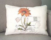 Lumbar Pillow Cover Decorative Throw Pillow Orange Flower French Postcard Print on Natural Cream- One 12 x 16 or 12 x 18