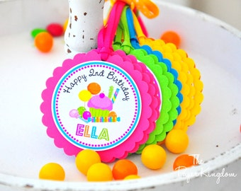 Candyland Hang Tags, Sweet Shoppe, Candyland Birthday Party, Candyland Favor Tags -  Set of 12