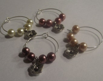 flower themed Wine Charms Set of 4