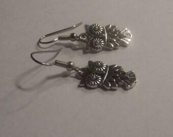 Whimsical Owl Silver Tone Earrings Halloween