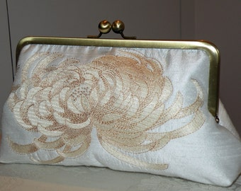 Embroidered Chrysanthemum Clutch/purse/bag..Silk..Long Island Wedding/Holiday Gift..Champagne..Something New Bridal Blue..Free Monogram