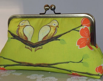 Birds on a Branch..Chickadee and Cherry Blossoms Clutch/Purse/Bag.. Silk Lined..Bridal Gift..Free Monogram