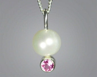 Pearl Drop Neck w-Stone (Pink Tourmaline)