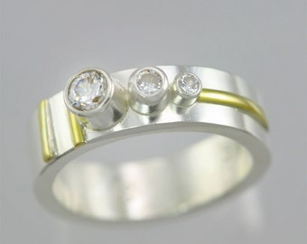 3 Stone Sequence Ring 14K (Cubic Zirconia) Made to Order