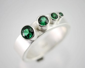 4 Stone Sequence Ring (Emerald) Made to Order