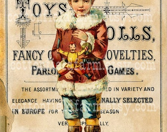 Victorian Christmas Boy in Red on Vintage Toy Sign Digital Sheet C-496 Large Image  5 X 7 for Pillows, Aprons, Totes, Stockings, ECS